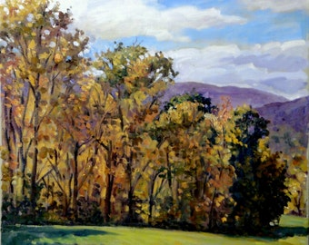 Late Autumn in the Berkshires. Realist Oil Painting Landscape, 20x20 Plein Air Impressionist Oil on Canvas, Signed Original Fine Art