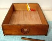 Wood Box Drawer Display Storage 15 x 11 Vintage Caddy Tray
