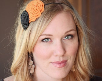 Black and Orange Halloween Folded Flower Headband for Women