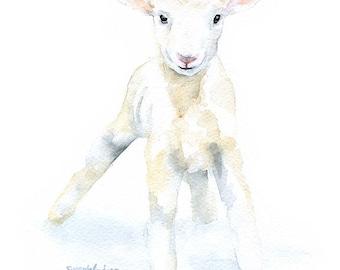 Lamb Watercolor Painting Giclee Print 8 x 10 / 8.5 x 11 Fine Art Nursery Print