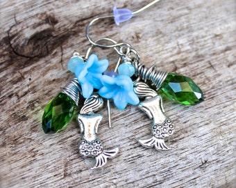Mermaid Jewelry from Hawaii - Mermaid Earrings - Hawaiian Jewelry by Mermaid Tears Hawaii Beach Bride Jewelry made in Hawaii Flower Earrings