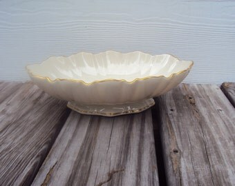 Lenox Symphony Ivory Scalloped Oval Footed Serving Bowl, 24K Gold Trim, Vintage Serving Dish