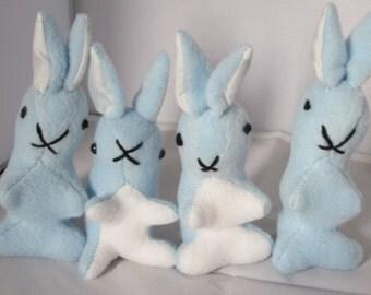 Bunny Baby Toys, Rabbit Baby Toys, Baby Bunny Toys, Baby Rabbit Toys, Blue Fleece Bunnies, Blue Fleece Rabbits, Toy Baby Bunnies, Baby Gift