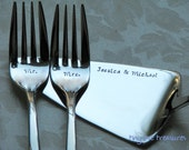 Wedding cake serving set - server and forks handstamped and personalized for the big day