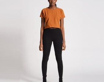 Rib High Waist Black Tights | High Waisted Thick Leggings | Soft Stretchy Longjohn Leggings | 90s Style Leggings | SALE XS