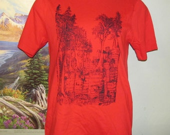 Tree Shirt - Forest Wins - Red, Small - forest nature earth first green anarchy rewild line art drawing punk tshirt