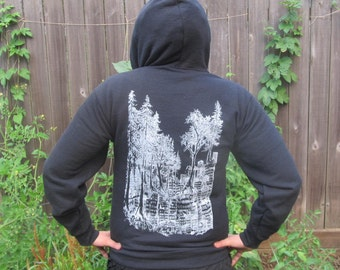 Tree Hoodie - Black Forest Wins - Small - green anarchy, anarchist hoody, drawing punk shirt hoody sweater hooded sweatshirt hood pullover