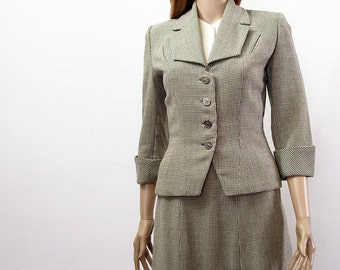 Vintage 1940s Suit Gray Cream Plaid Skirt Suit / Extra Small
