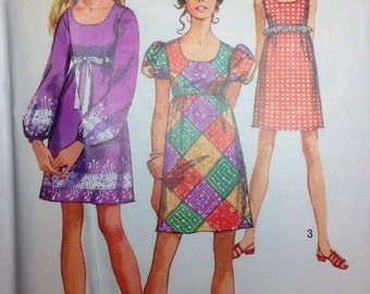 Vintage Sewing Pattern Boho Peasant Empire Dress 1969 Size Young Junior Teen 11/12