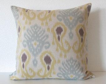 Barbados Ikat Spa yellow blue brown ikat decorative pillow cover