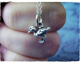 Tiny Duckling Necklace - Sterling Silver Duckling Charm on a Delicate Sterling Silver Cable Chain or Charm Only