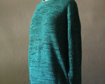 Vintage 80's Teal and Black Speckled Knit Sweater