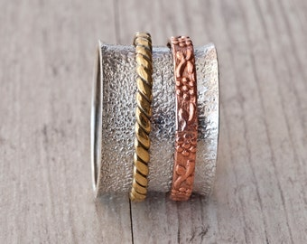 Wide Band Sterling Silver Ring, Handcrafted Statement Ring with Spinner Brass and Copper Textured Bands, Mixed Metal Ring, Unisex Ring