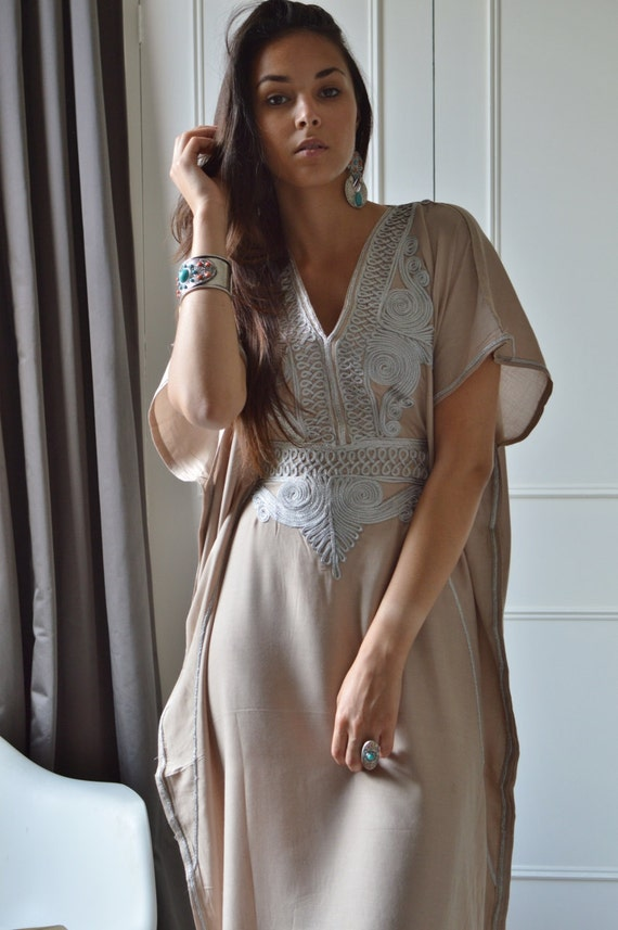 Autumn Dress 20% OFF/ Kaftan Bridesmaid, bridesmaid robe, Beige Silver Marrakech One Size Resort Kaftan-wholesale, Moroccan, beach wedding,