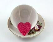 Pink Heart Necklace, Victorian Heart, Resin Heart Pendant