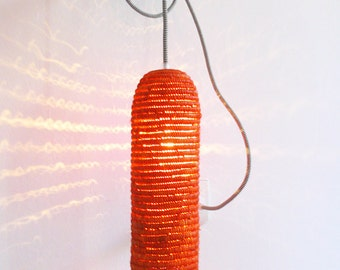 Natural raffia lamp with textile cable, switch and plug - orange