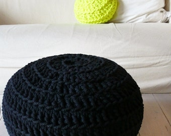 Pouf Crochet - Thick Cotton - Black