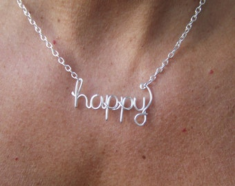 Happy Necklace Or Any Word Personalized Silver Word Necklace Happiness Joy  Personalized Necklace Wire Wrap Jewelry Gifts under 20