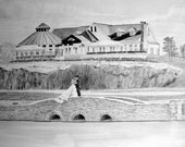 Custom Wedding Drawing From Your Photo - 8x10 Original Pencil Sketch Art Landscape Art From Picture