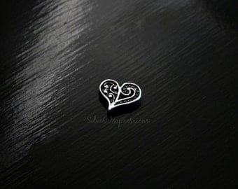 Heart Floating Locket Charm / Swirl heart Locket Charm