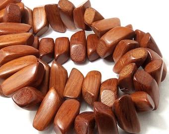 Bayong Wood Chunky Nugget, Natural Wood Beads, Handmade, 13x34mm, Large, Big, Half Strand, 15pcs - ID 1871