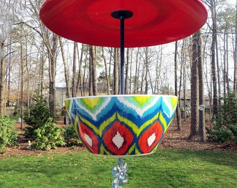 Covered Hanging Bird Feeder, Aztec, Retro, Melamine
