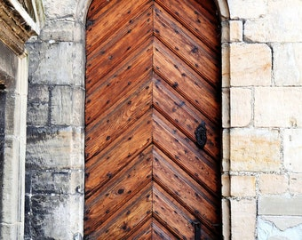 Door Photography - Brown Door Print - Chevron Wall Art - Kronberg Castle Photo - Denmark Travel Photography Home Decor Wall Art