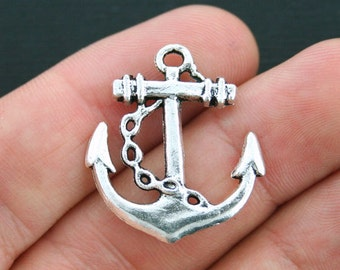 8 Large Anchor Charms Antique Silver Tone 2 Sided - SC2717