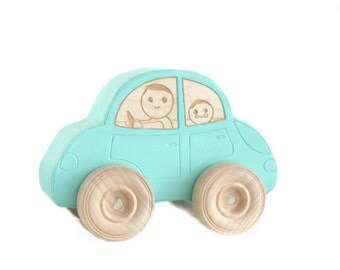 Blue car wood toy car great for kids toddlers family drive mom dad brother sister