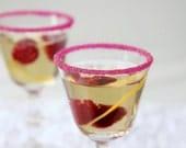 Cocktail rimming sugar - pink raspberry colored rim sugar for champagne, martini glasses