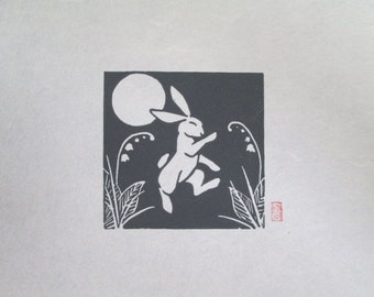 Dancing Rabbit - Mini Rabbit Lino Block Print