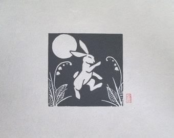 Dancing Rabbit - Mini Rabbit Lino Block Print