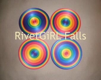Rainbow Ribbon Coasters Set of 4