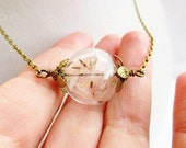 Dandelion Seed Wishing Orb Necklace, Small Orb in Bronze or Silver, Bridesmaids Gifts