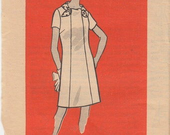 "Vintage Sewing Pattern 60s Mod Dress Panels Front And Back Self Scarf Neckline Size 10.5  Bust 33"" (84 cm)  Mail Order 9495 S"