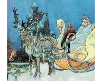 Russian Princess Print Snow Queen Reindeer Sleigh - Repro Charles Robinson