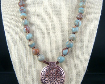 Aqua Terra Jasper Necklace with Copper Pendant, Copper and Aqua Necklace - Copper Pendant Necklace with Aqua Terra Jasper - One of a Kind