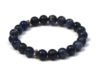 Blue Sodalite Healing Gemstones Mala Bracelet Mothers Day Easter Gift for Wife Daughter Grandmother From Dad, Balance Yoga Bracelet Bohemian