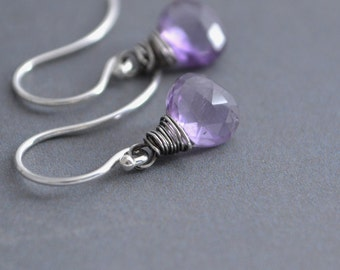 Purple African Amethyst Earrings, Hand Wire Wrapped, Agrentium Sterling Silver, February Birthstone, Gift Under 25