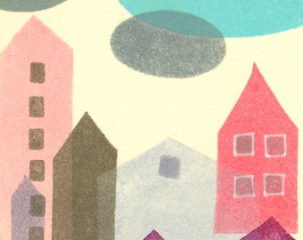 Blue Cloud: Original Monotype ACEO, Artist Trading Card, ATC, abstract modern art, pink grey blue houses