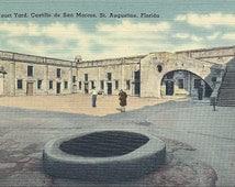 1940s Vintage Florida Postcard St. Augustine Courtyard of Castillo de San Marcos