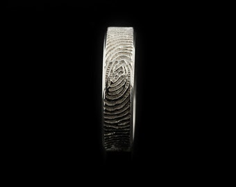 Beveled Fingerprint Ring - Sterling Silver Engraving Wedding Band, Beveled edge