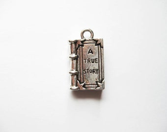 4 True Story Book Charms in Silver Tone - C1826