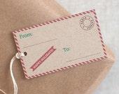Christmas Gift Tags Set of 10 or 20 - Postal Theme Santa Express - Recycled Brown Holiday Tags, Happy Holidays Gift Tags