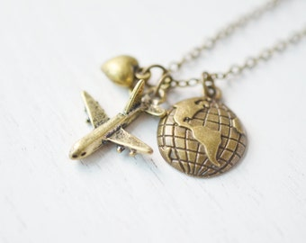 travel necklace, aviation jewelry, pilot gift, airplane necklace, stewardess jewelry, aircraft travel, pilot, bridesmaid gift, airplane map