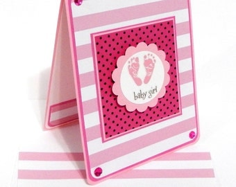 Baby Girl Card with Matching Embellished Envelope- Stripes