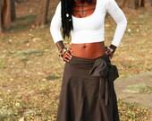 Anahata - Brown Bohemian ruched draped skirt