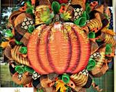 Fall Harvest Orange Pumpkin Deluxe Wreath