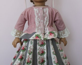 Colonial Short Gown & Skirt with Vintage Lace Cap for 18 Inch Doll, C97
