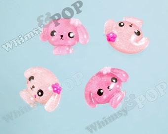4 - Kawaii Glitter Pink Puppy Deco Resin Flatback Cabochons, Dog Cabochons, Kawaii Dogs (R6-134)